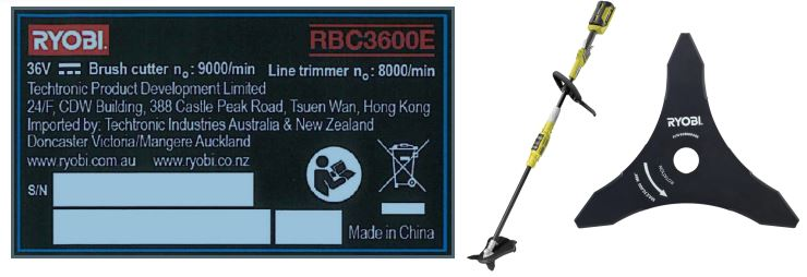 Product Recall: Ryobi Tri Arc® Brush Cutter Blades
